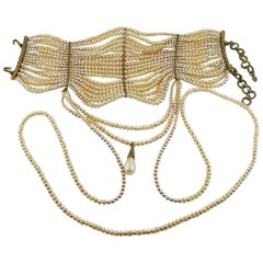 Christian Dior 1998 Documented Multi Strand Edwardian Pearl Choker Necklace