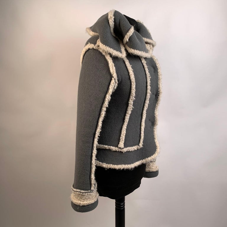 Christian Dior 2005 Gray Wool Shearling Jacket Size38 For Sale 2