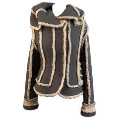 Christian Dior 2005 Gray Wool Shearling Jacket Size38