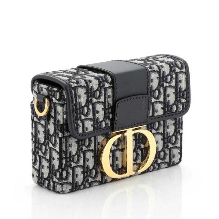 Black Christian Dior 30 Montaigne Box Bag Oblique Canvas