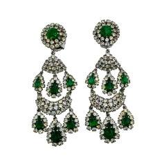 "Christian Dior 3.5"" Pendant Rhinestone Earrings from 1971, Henkel & Grosse"