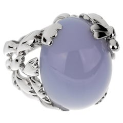 Christian Dior 40 Carat Blue Chalcedony Diamond Gold Cocktail Ring