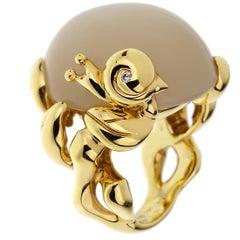 Christian Dior 40 Carat Moonstone Diamond Yellow Gold Cocktail Ring