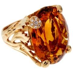 Christian Dior 44.5 Carat Citrine Diamond Cocktail Yellow Gold Ring
