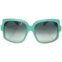 Christian Dior 60's Turquoise Square Sunglasses