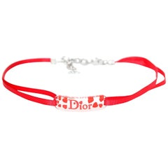 Christian Dior Acrylic Logo Heart Red Ribbon Choker Necklace