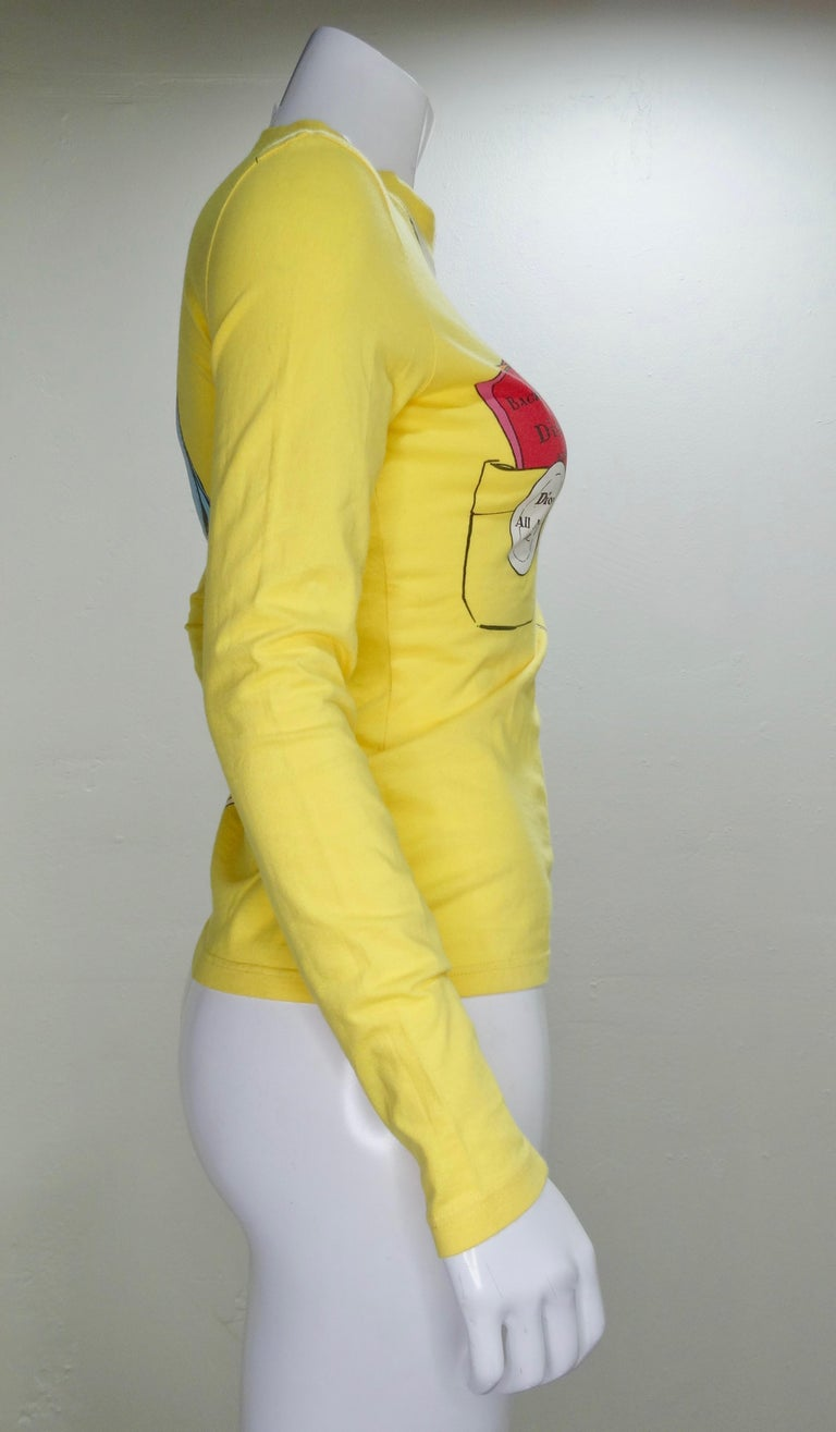 Yellow Christian Dior 'All Access' Graphic Long-Sleeve For Sale