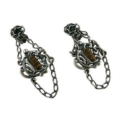 Christian Dior Antiqued Silver Toned Logo Leather Dangling Earrings
