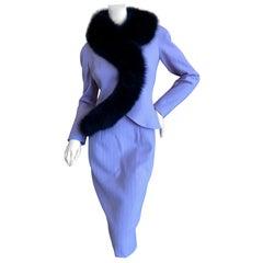 Christian Dior AW '97 by Galliano Vintage Lavender Dress w Fox Fur Trim Jacket