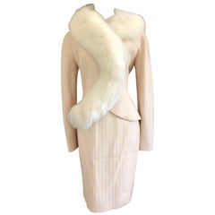 Christian Dior AW '97 by John Galliano Vintage Fox Fur Trim Jacket & Skirt Suit