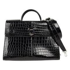 Christian Dior Bag Diorever Matte Black Crocodile Tote Shoulder Strap Mint