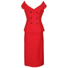 Christian Dior Red Off-the-Shoulder Bar Jacket and Midi Skirt