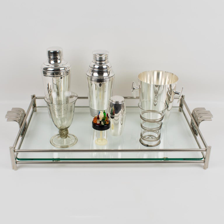 Christian Dior Barware Silvered Metal and Glass Tray For Sale 4