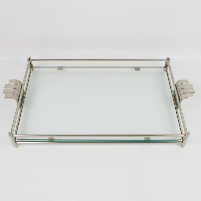 Modern Christian Dior Barware Silvered Metal and Glass Tray For Sale