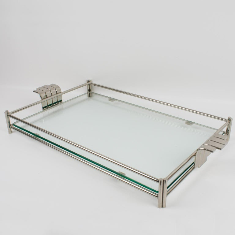 French Christian Dior Barware Silvered Metal and Glass Tray For Sale