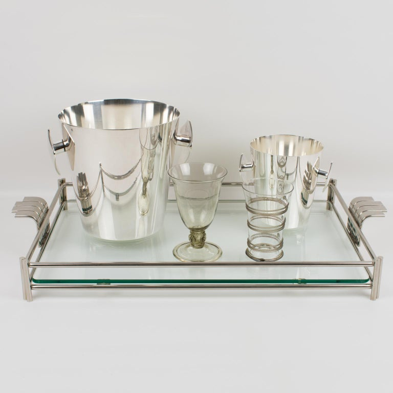 Christian Dior Barware Silvered Metal and Glass Tray For Sale 3