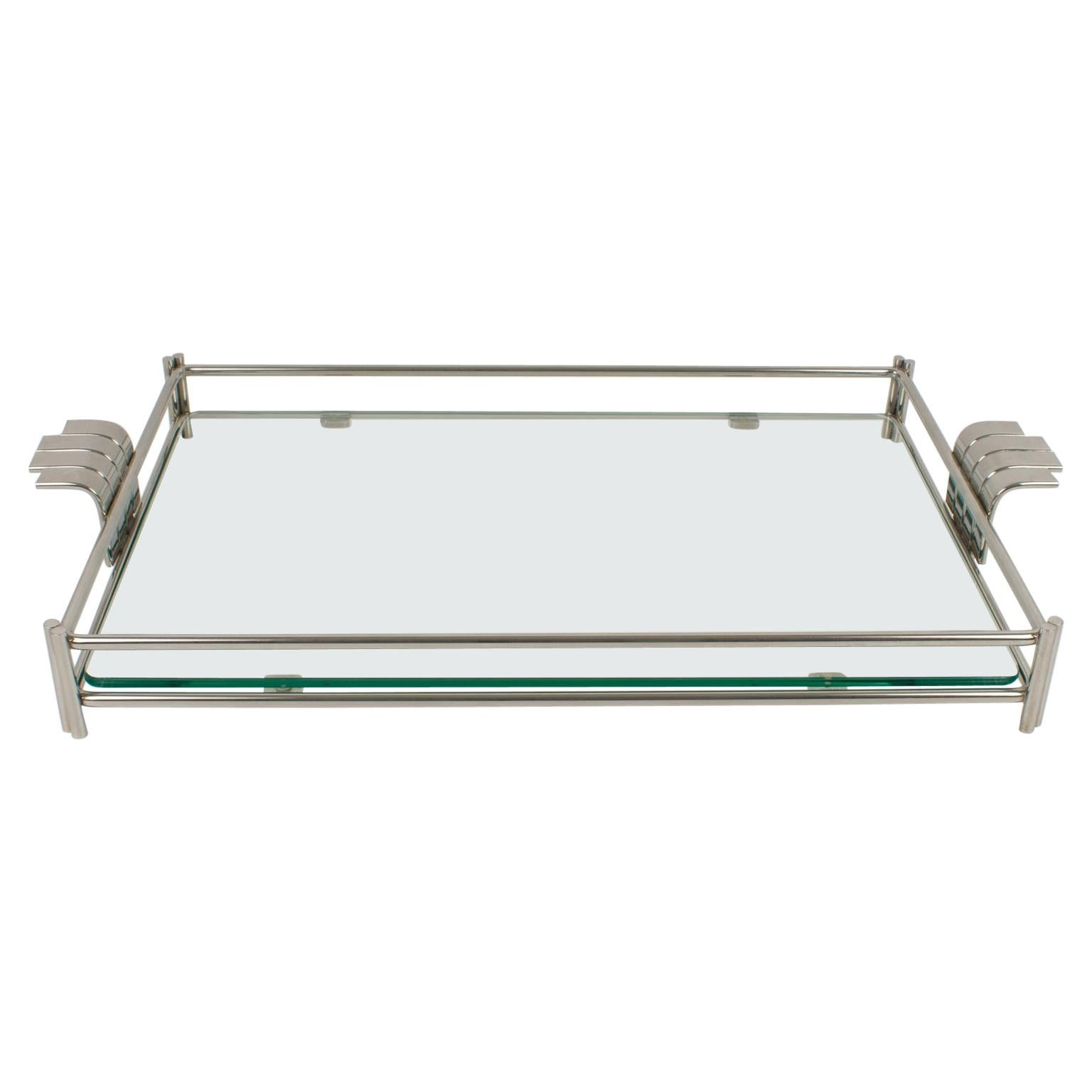 Christian Dior Barware Silvered Metal and Glass Tray