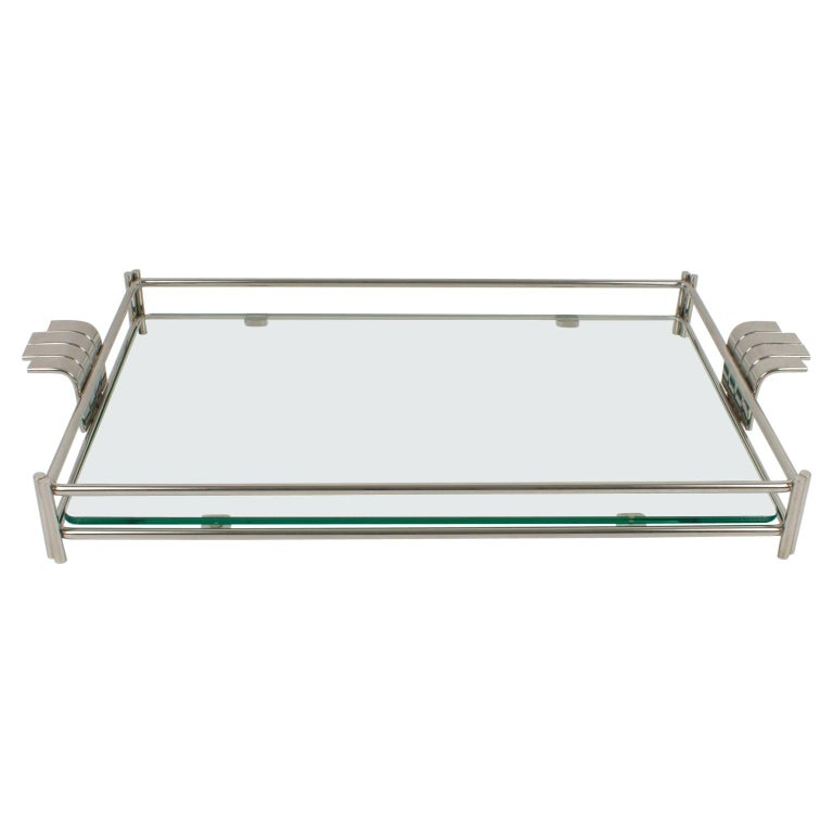 Christian Dior Barware Silvered Metal and Glass Tray For Sale