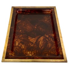 Christian Dior Barware Serving Tray Tortoise Lucite and Brass, France, 1970s