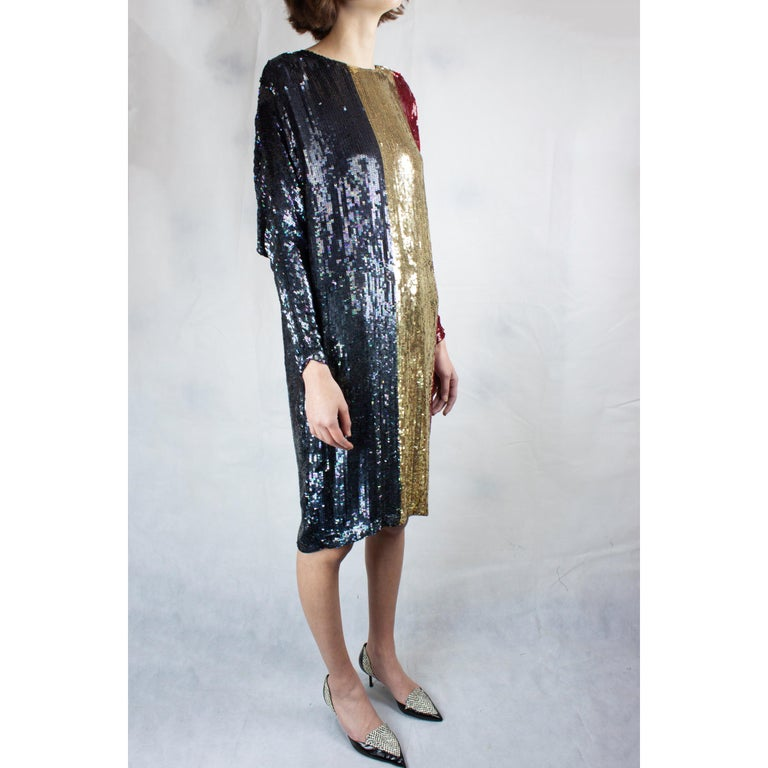 Christian Dior batwings evening sequin dress. circa 1980s In Good Condition For Sale In London, GB