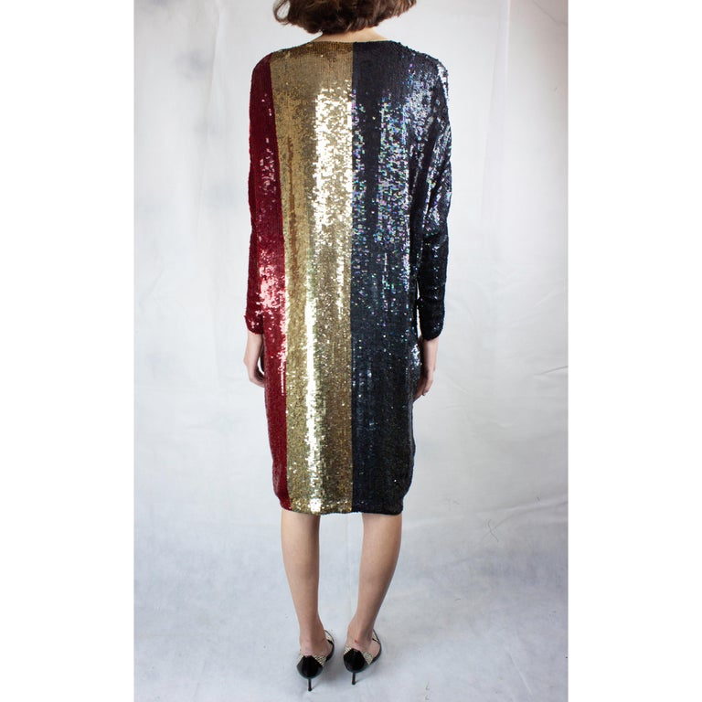 Women's Christian Dior batwings evening sequin dress. circa 1980s For Sale