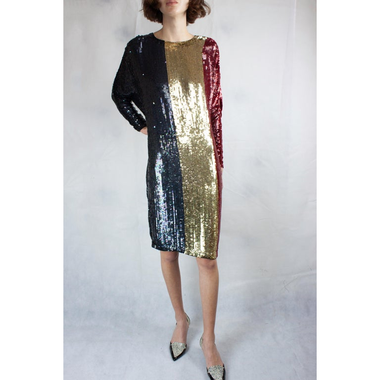 Christian Dior batwings evening sequin dress. circa 1980s For Sale 1