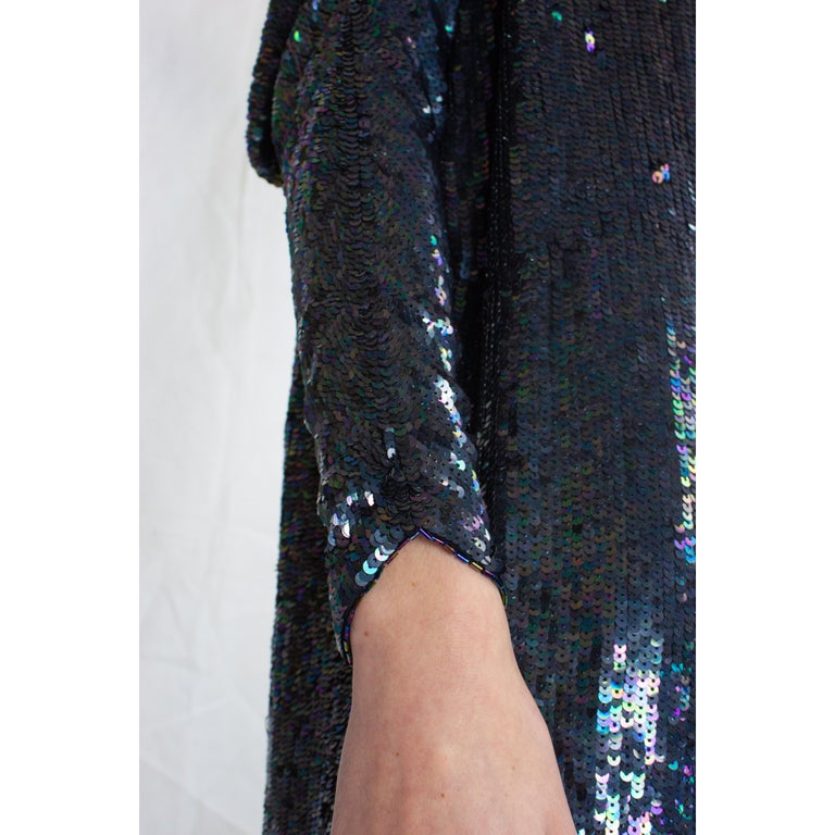 Christian Dior batwings evening sequin dress. circa 1980s For Sale 2