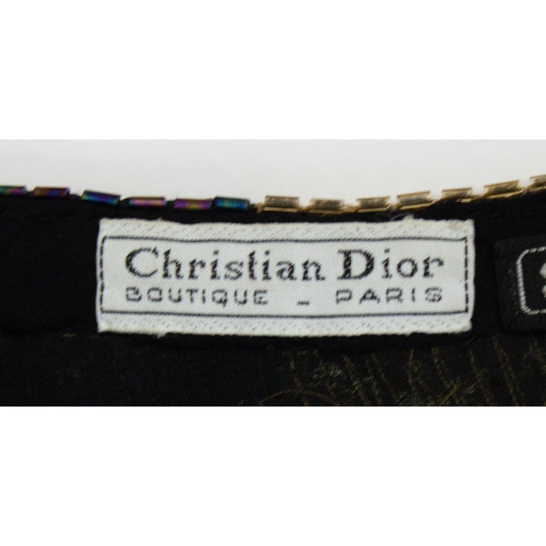 Christian Dior batwings evening sequin dress. circa 1980s For Sale 3