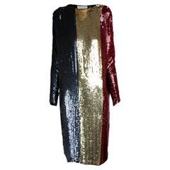 Christian Dior batwings evening sequin dress. circa 1980s