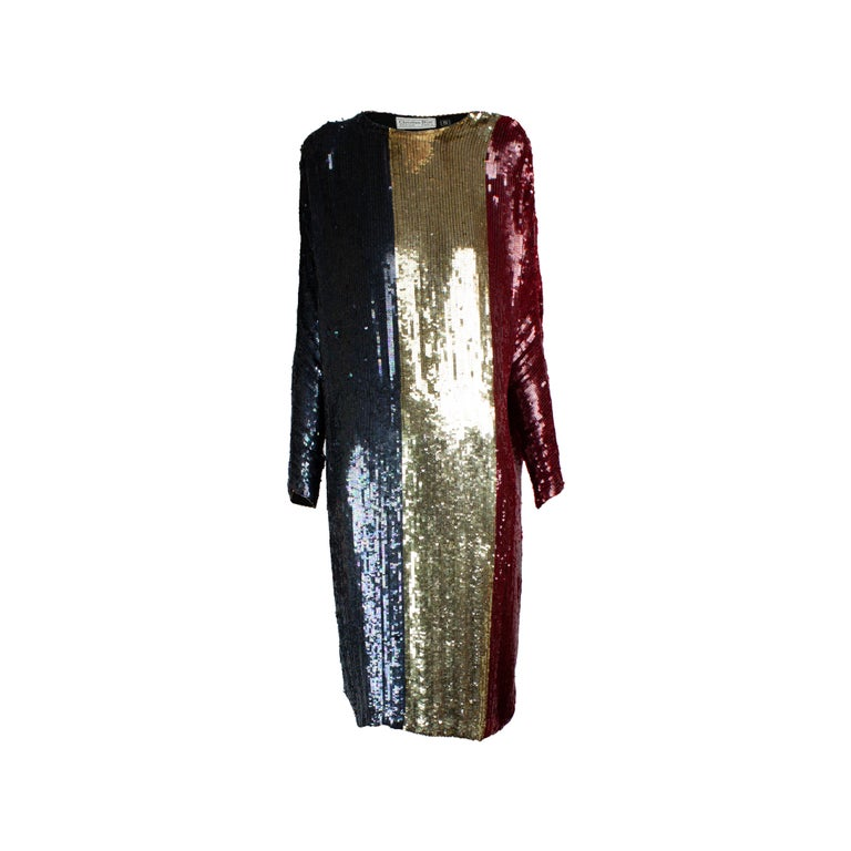 Christian Dior batwings evening sequin dress. circa 1980s For Sale