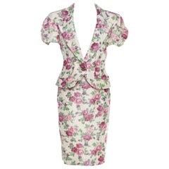 Christian Dior Beige Floral Print Silk Skirt Suit L