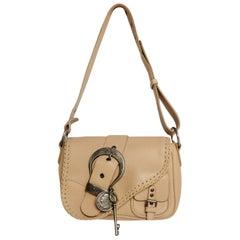 Christian Dior Beige Leather Saddle Bag
