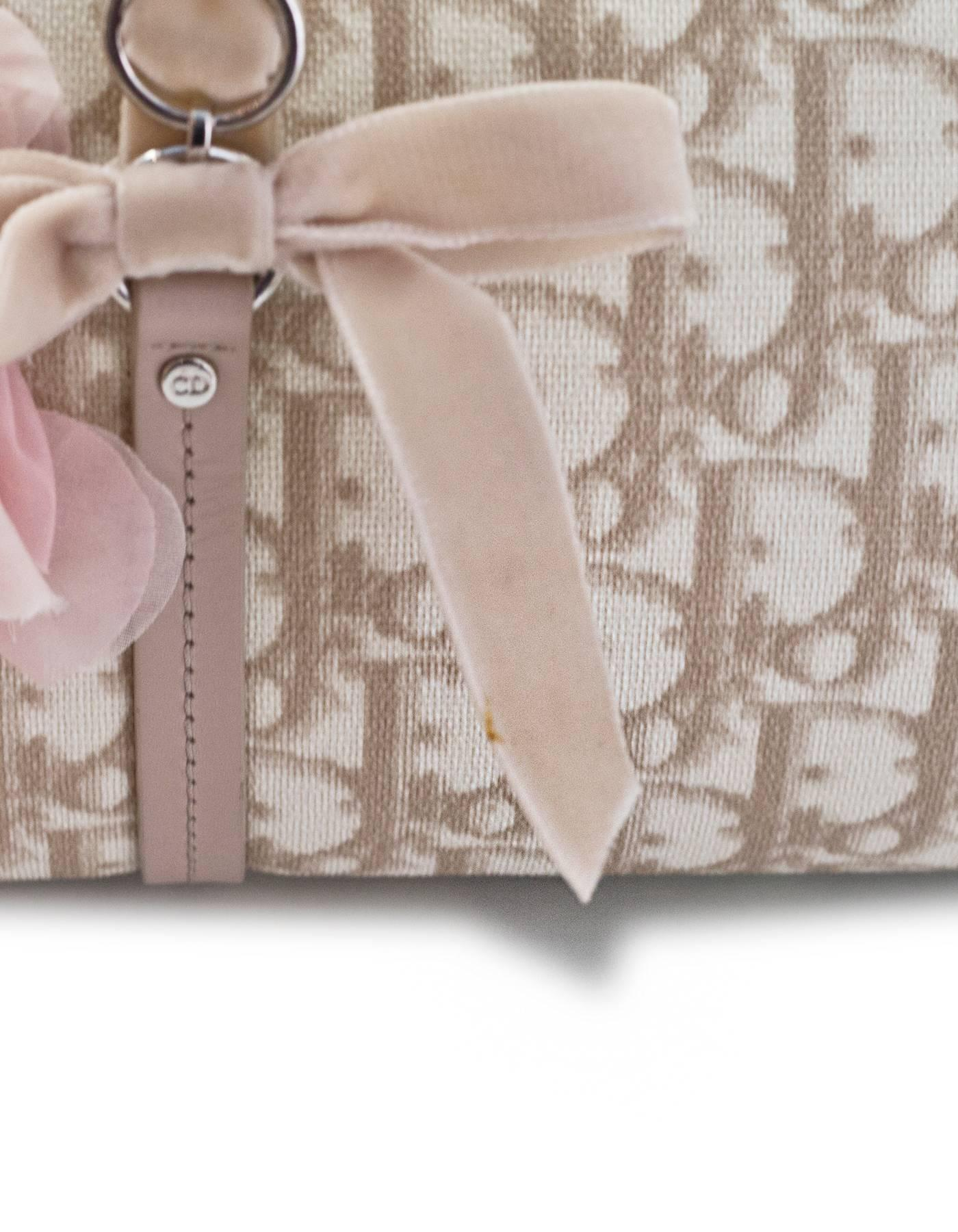 Dior Beige Monogram Trotter Romantique Floral Bow Medium Handle Bag cGSi93O5S8