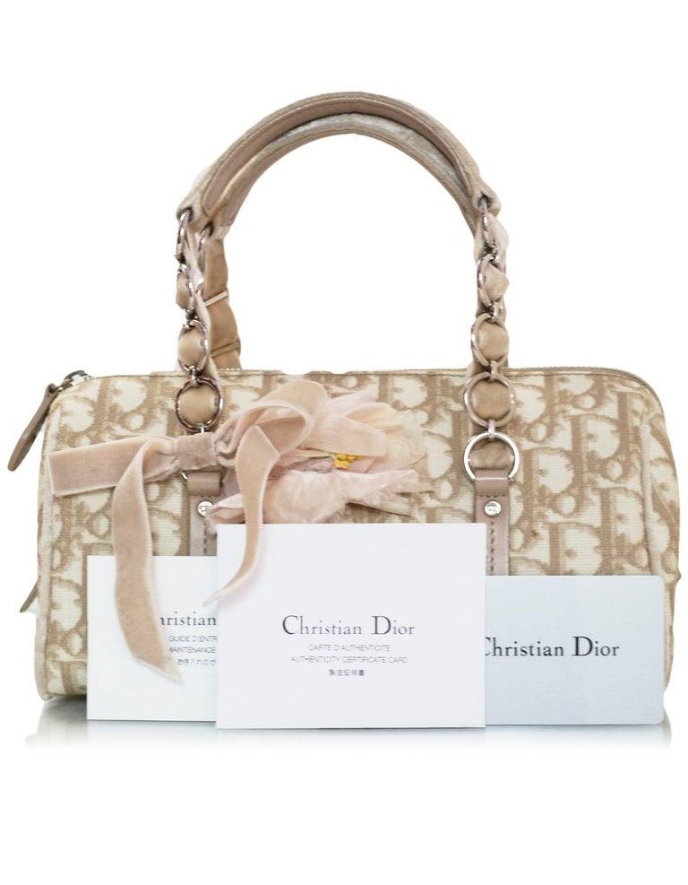 Christian Dior Beige Monogram Trotter Romantique Floral Bow Small Boston Bag For Sale 6