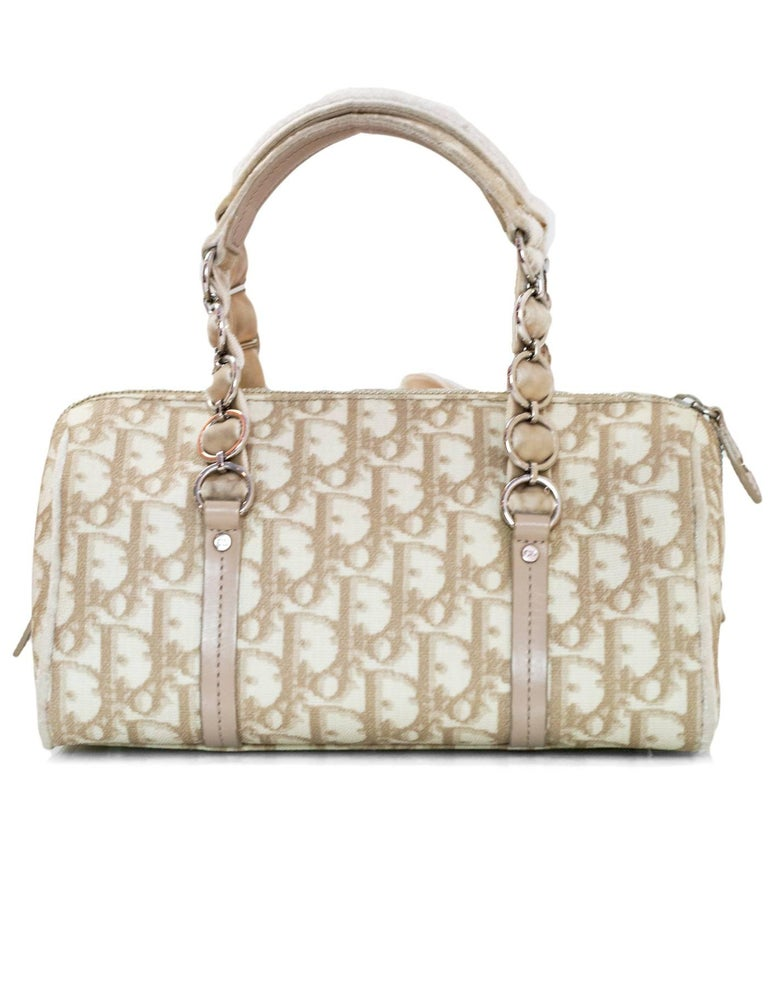 Christian Dior Beige Monogram Trotter Romantique Floral Bow Small Boston Bag In Excellent Condition For Sale In New York, NY