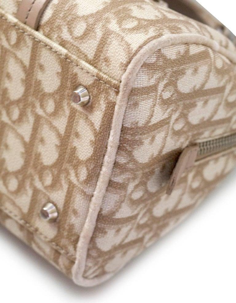 Christian Dior Beige Monogram Trotter Romantique Floral Bow Small Boston Bag For Sale 1