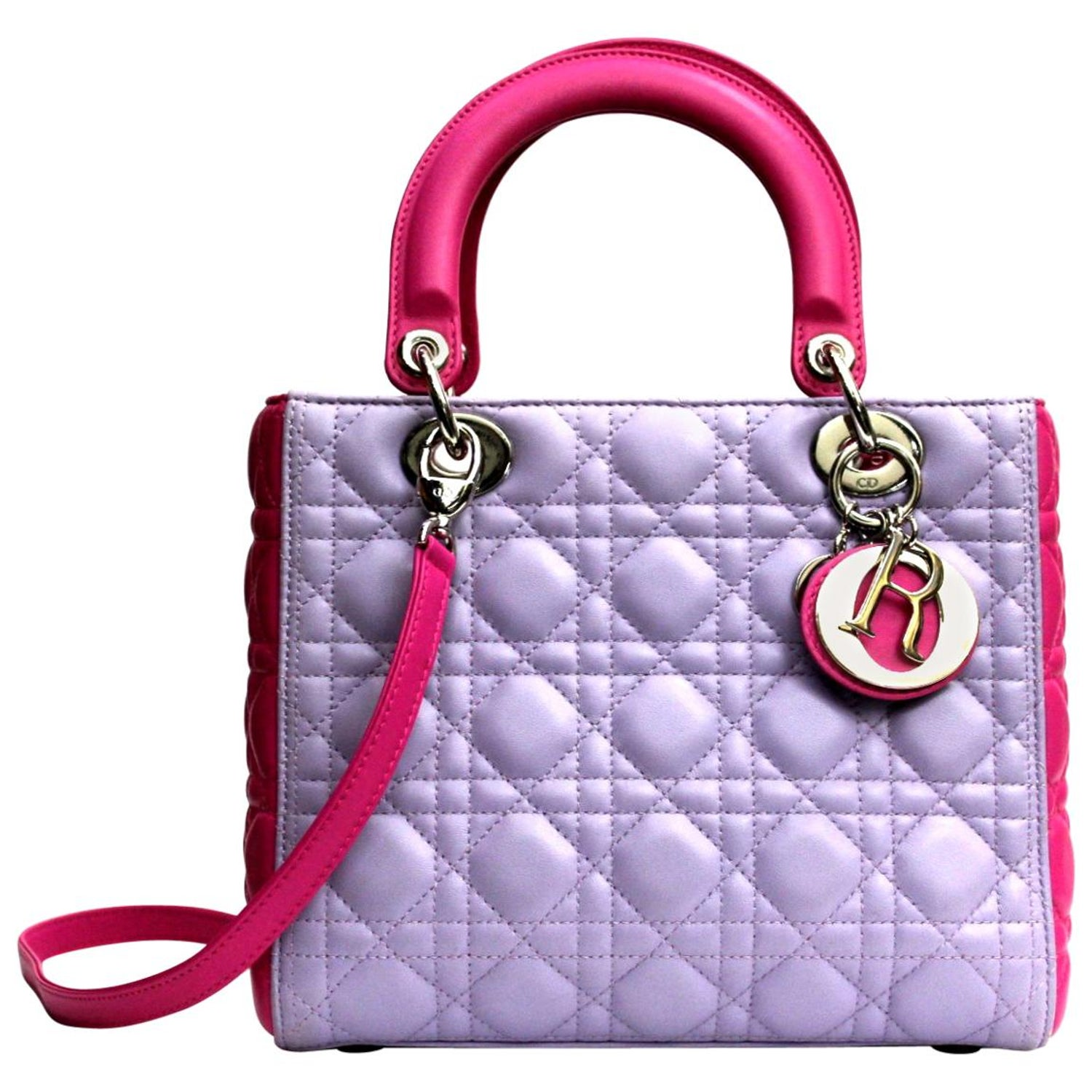 90c54f1377 Christian Dior Bi-Color Cannage Quilted Lambskin Leather Medium Lady Dior  Bag at 1stdibs