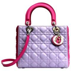 c0baa9fe85f Christian Dior Bi-Color Cannage Quilted Lambskin Leather Medium Lady Dior  Bag