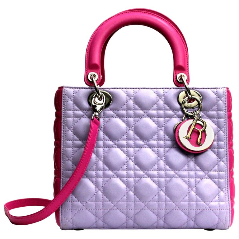 75eac4952c2c Christian Dior Bi-Color Cannage Quilted Lambskin Leather Medium Lady Dior  Bag For Sale