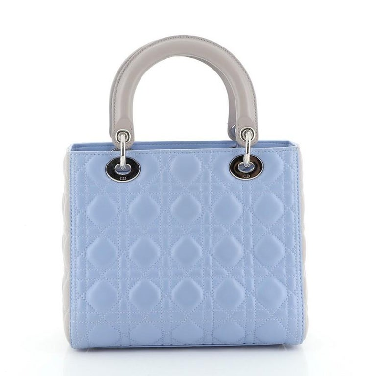 Christian Dior Bicolor Lady Dior Bag Cannage Quilt Lambskin Medium In Good Condition For Sale In New York, NY