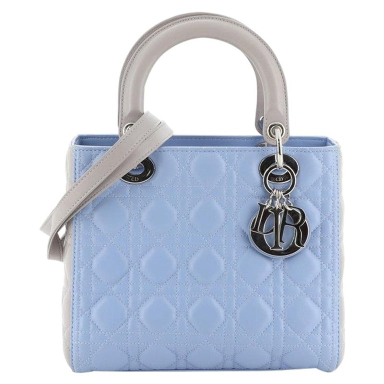 Christian Dior Bicolor Lady Dior Bag Cannage Quilt Lambskin Medium For Sale