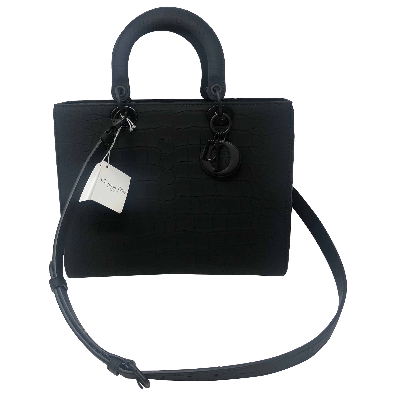 Christian Dior Black Alligator Large Lady Bag