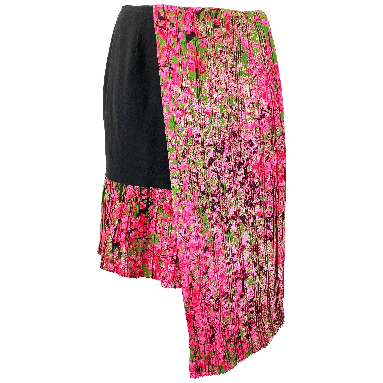 Christian Dior Black and Pink Silk Mini Skirt Size 38