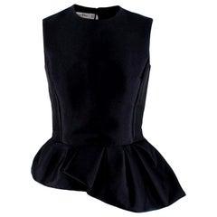 Christian Dior Black Asymmetric Peplum Sleeveless Top - Size US 4