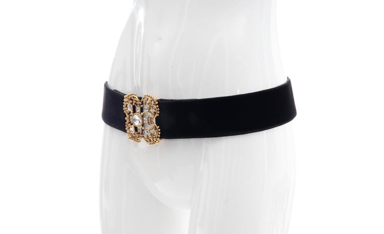 Christian Dior Black Bijoux Velvet Evening Belt For Sale 6
