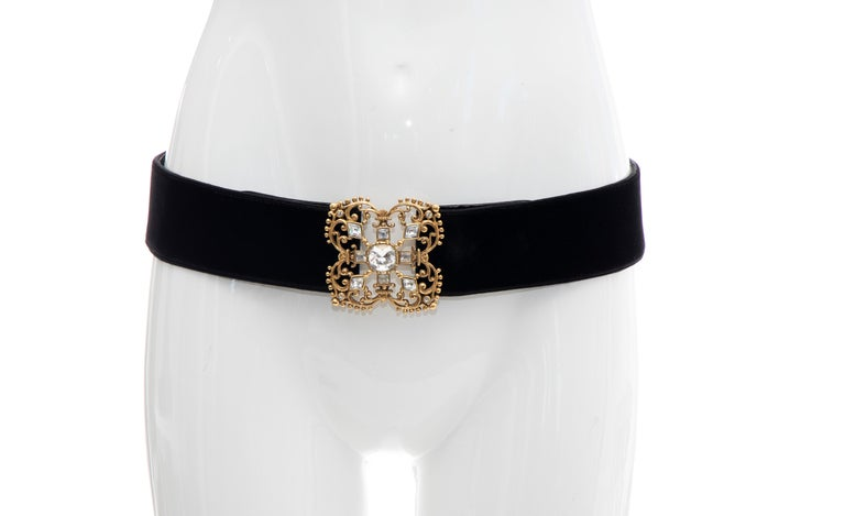 Christian Dior Black Bijoux Velvet Evening Belt For Sale 7