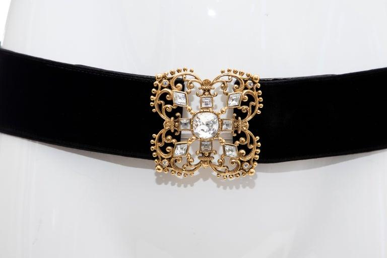 Christian Dior Black Bijoux Velvet Evening Belt In Good Condition For Sale In Cincinnati, OH