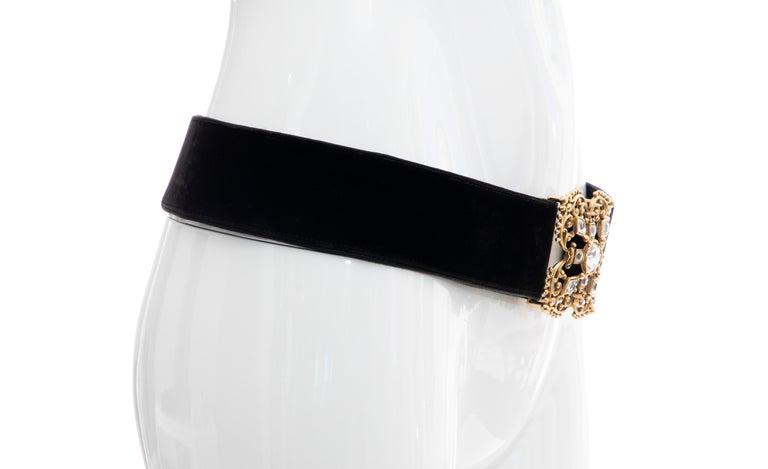 Women's Christian Dior Black Bijoux Velvet Evening Belt For Sale