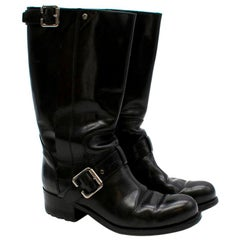 Christian Dior Black Buckle Detail Leather Boots - Size EU 37.5