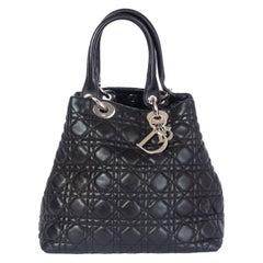 CHRISTIAN DIOR black Cannage leather LADY DIOR SOFT MEDIUM Tote Bag
